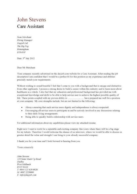 cover letter aged care letter of recommendation