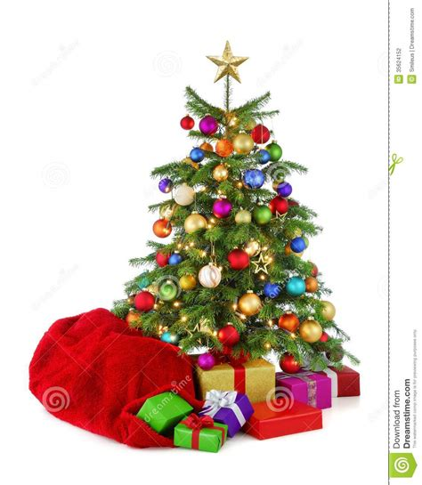 colorful christmas tree with santa s bag and gifts stock