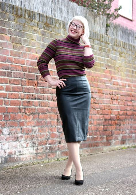 leather pencil skirt with roll neck jumper
