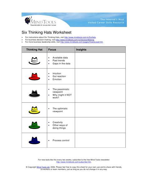 6 thinking hats worksheet six thinking hats worksheet