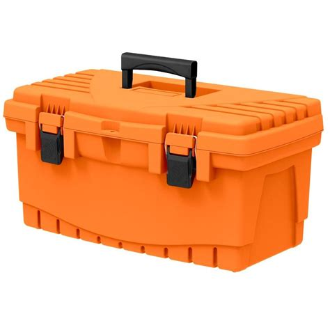 home depot tool box homer 19 in tool box orange 193373 the home depot