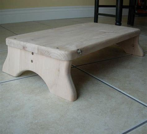 Low Wide Step Stool by Large Platform Step Stool Unfinished Wood Alder By
