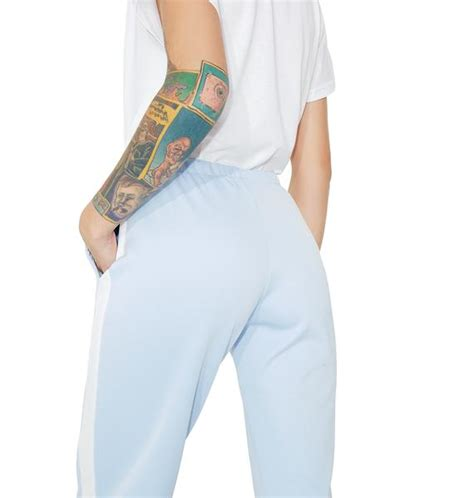 Striped Jogger Sweatpants striped light blue jogger sweatpants dolls kill