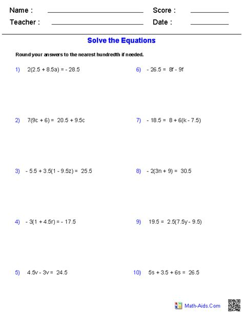 Multi Step Equations Worksheet Answers algebra 1 worksheets equations worksheets