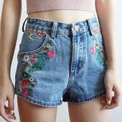 High Waist Embroidered Shorts wanderlust embroidered high waist shorts med blue
