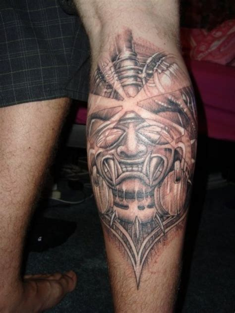 back of leg tattoos aztec tattoos and designs page 34