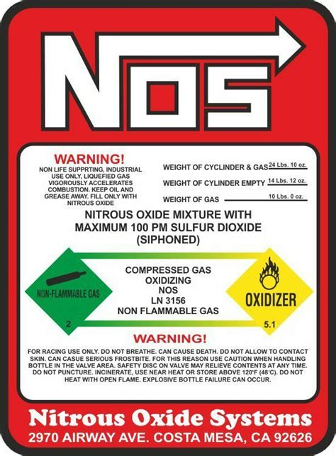 Nitrous Oxide Stickers