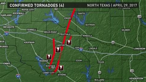 tornadoes in texas map map of confirmed tornadoes in east texas wfaa