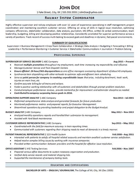 Railcar Repair Sle Resume railroad resume exle railway operations service supervisor
