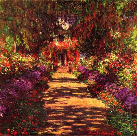 claude monet garten path in monets garden in giverny painting by claude monet