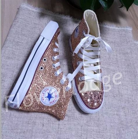 bling converse sneakers chagne converse shoes rhinestone high top converse