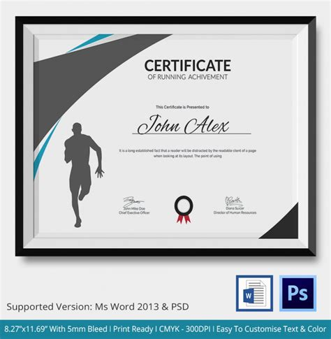 5 running certificates psd word designs design