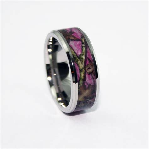 pink camo bevel ring camo wedding ring camo silicone