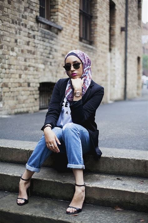 latest women casual hijab styles  jeans trends