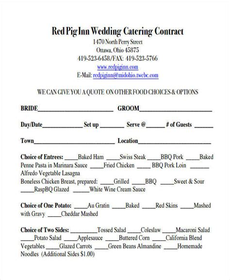 Wedding Catering Contract Sle by 38 Contract Templates In Pdf