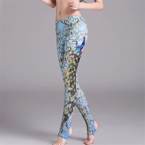 peacock pattern yoga pants ornate peacock stirrup women s leggings printed yoga pants