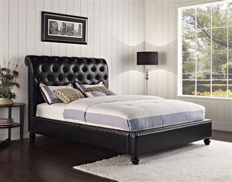 Sleigh Bed With Leather Headboard by Modern Sleigh Bed Frame Bedroom Furniture Leather Upholstered Tufted Headboard Ebay
