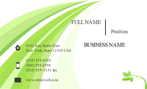 Green Card Template by Fresh Green Business Card Template