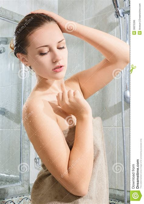 beautiful taking shower royalty free stock