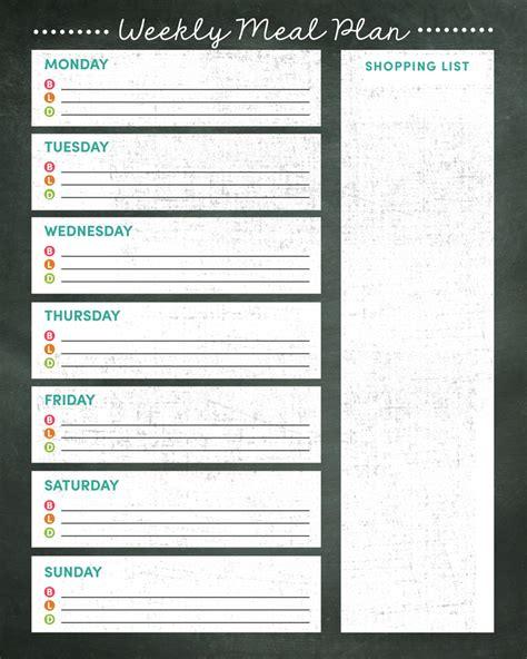 printable grocery list meal planner