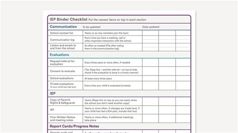 printable iep binder checklist