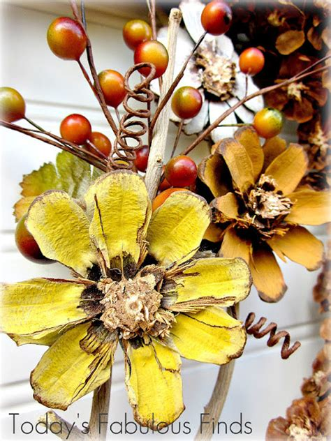 how to make pine cone flowers flower power pinterest today s fabulous finds fall pine cone flower wreath