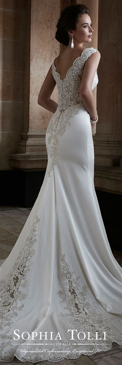 Wedding Dresses No by Sleeveless Satin Fit Flare Gown Tolli Y21749