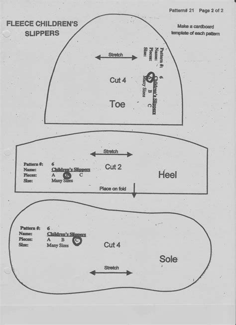 slipper template lds to many free fleece slipper pattern adjust size