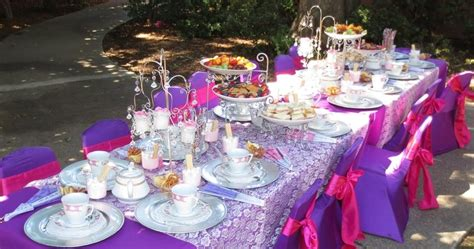 themed party equipment hire tea party princess theme birthday party table set up