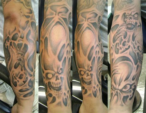 skull tattoo sleeves designs skulls and smoke sleeve interior home design
