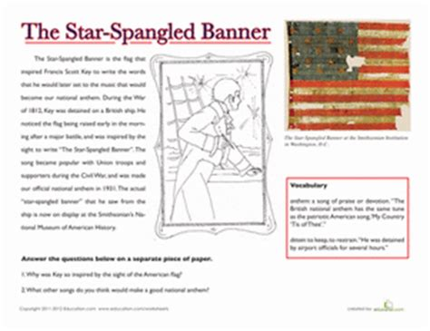 coloring page of the star spangled banner national treasures the star spangled banner worksheet