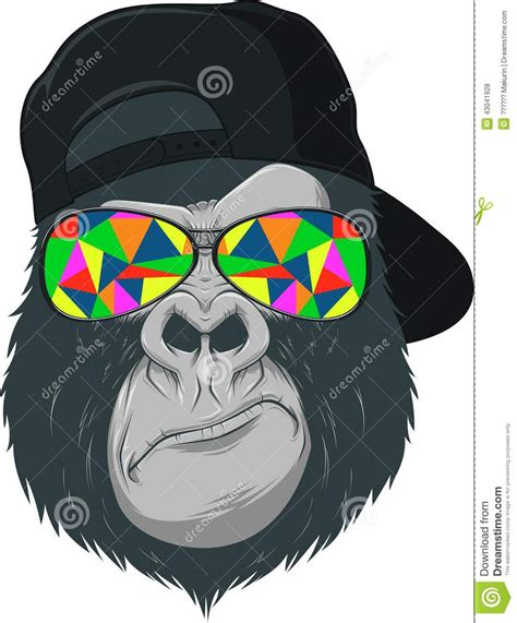 with glasses monkey with glasses stock vector image 43041928