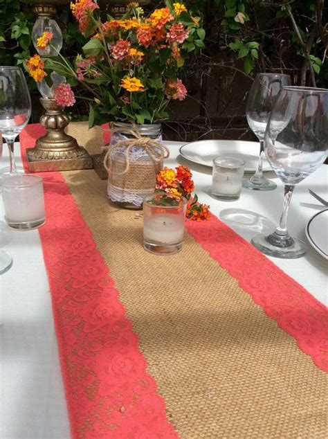 WEDDING DECOR/Burlap Table Runner/Coral pink by