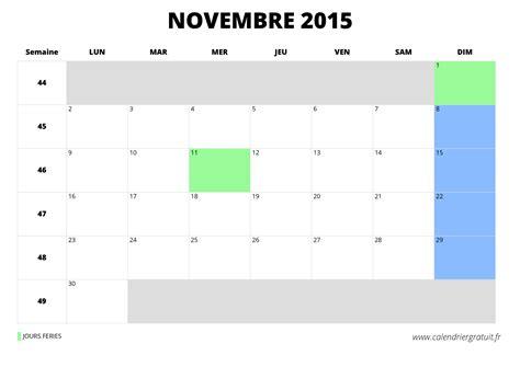 Calendrier 5 Novembre 2015 Calendrier De Novembre 2015 224 Imprimer