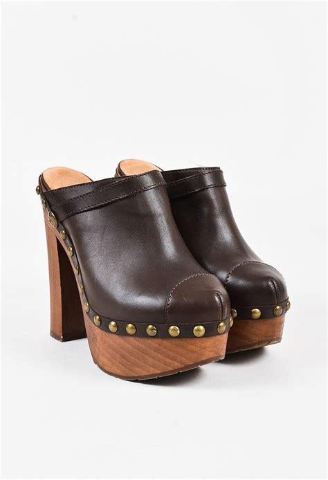 wooden heel clogs for chanel brown leather studded wooden platform high heel