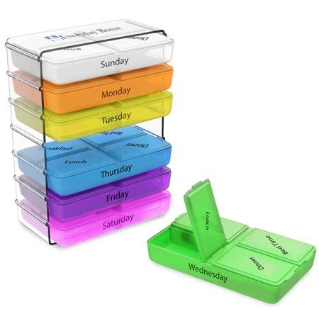 daily pill organizer  7 day weekly compact prescription