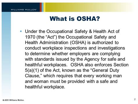 section 5 a 1 of the osh act handling the accident inspection the people at osha