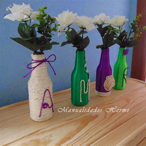como decorar botellas de vidrio con mecate manualidades herme diy decorar botellas de vidrio