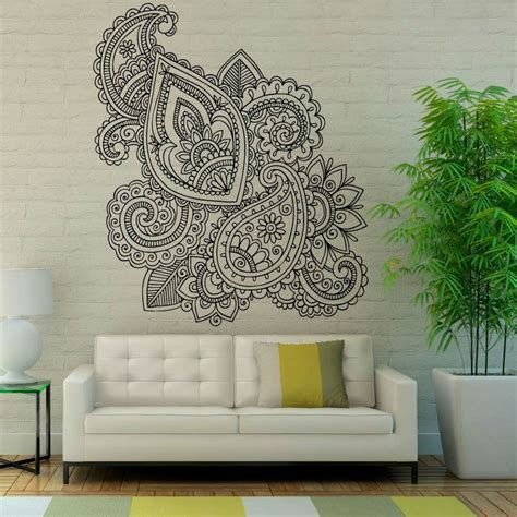 wall sticker patterns mandalas lotus wall decals sticker mehndi vinyl wall stickers floral pattern removable home