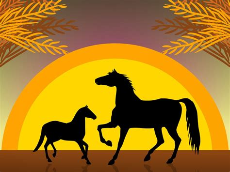powerpoint templates free download horse horses at sunset ppt backgrounds animals templates ppt