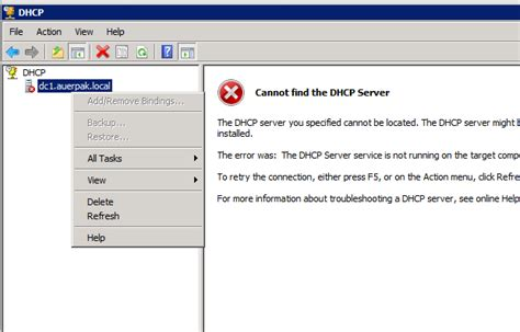 for dhcp windows 2008 dhcp service fails quot failed to see a