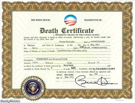 pin fake death certificate template on pinterest