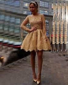 robe de soiree gold sequins appliques lace short prom