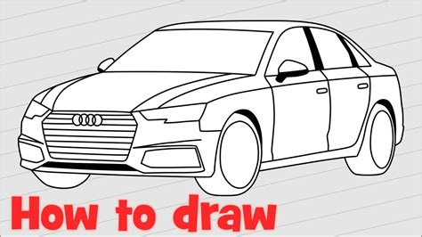 how to draw a car how to draw a car audi a4 sedan 2017 step by step