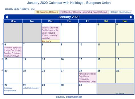 print friendly january  eu calendar  printing