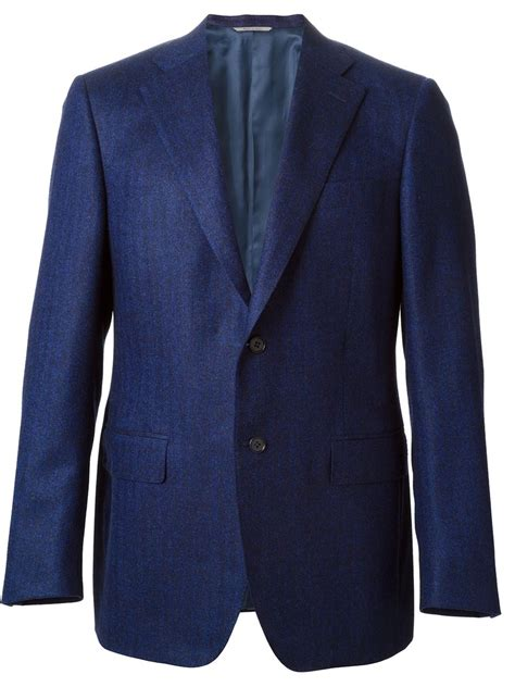 blue patterned blazer lyst canali herringbone weave pattern blazer in blue for men
