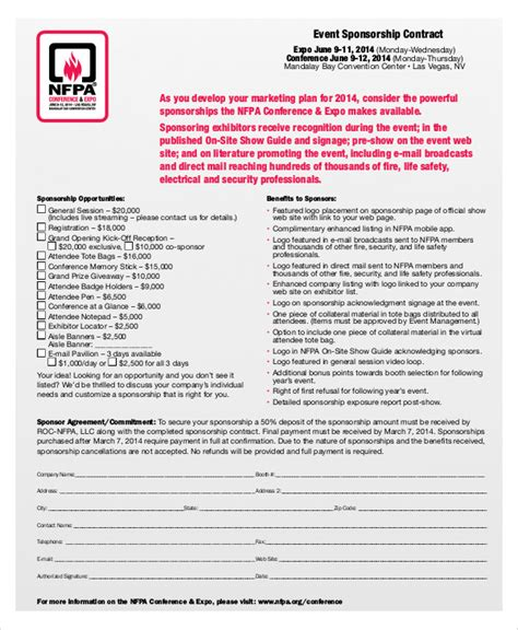 7 Sle Event Contract Agreements Sle Templates Event Sponsorship Contract Template