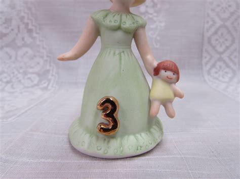 vintage enesco birthday girl figurine  year  blond girl cake topper figurine growing