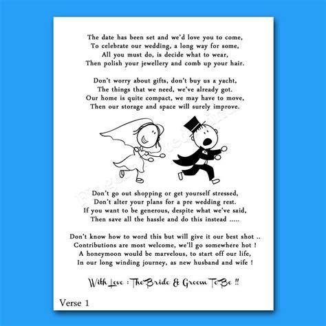 Details about Wedding Cash Money Voucher Request Poems For