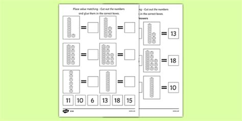 place value tens and ones cut and stick worksheet counting